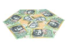 Australien-Banknote auf weißem Hintergrund Stockbilder