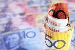 Australien-Bargeld-Rollenhintergrund Lizenzfreie Stockfotos
