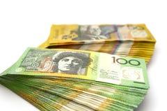 Australien cent billets d'un dollar et billets de cinquante dollars Image stock