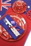 Australien dag, Anzac Day eller australisk offentlig ferie eller medborgarehändelse som äter middag tabellställeinställningen - a Royaltyfri Foto