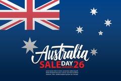 Australien dag, januari 26, baner Sale för specialt erbjudande med den australiska nationsflaggan och handbokstäver för affär stock illustrationer