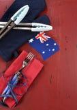 Australien dag, Januari 26, tema röd, vit- och blåttgrillfest - lodlinje Arkivbild