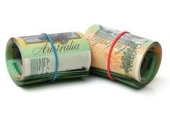 Australien dollar, sedel av Australien och USD Arkivbilder