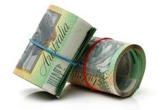 Australien dollar, sedel av Australien och USD Arkivfoto