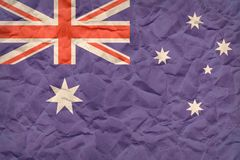 Australien flagga på skrynkligt säckpapper Fotografering för Bildbyråer