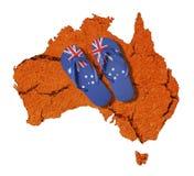 Australien flaggabadskor arkivfoto