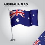 Australien flagganationsflagga av Australien på en pol royaltyfri illustrationer