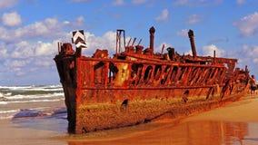Australien Fraser Island - skeppsbrott Arkivfoton