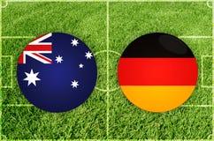 Australien gegen Deutschland-Fußballspiel Stockfotos