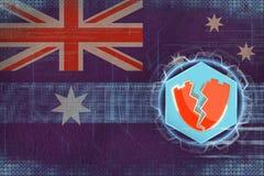 Australien hackade, anfallit av en hacker Internetskyddsbegrepp Fotografering för Bildbyråer
