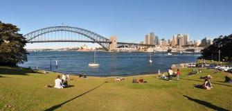 Australien hamnpanorama sydney Arkivbilder