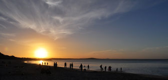 Australien heads den noosaqueensland solnedgången royaltyfri bild