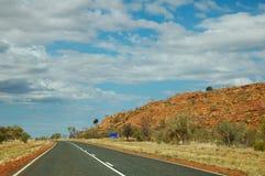 Australien huvudväg outback s stuart Arkivfoto
