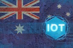 Australien IOT internet av saker Internet av det moderna begreppet för saker Royaltyfri Foto