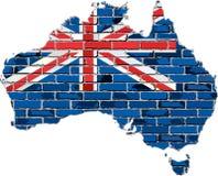 Australien-Karte auf einer Backsteinmauer Lizenzfreies Stockbild