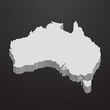 Australien-Karte im Grau auf einem schwarzen Hintergrund 3d Stockbild