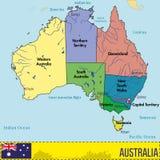Australien-Karte mit Regionen und ihren Hauptstädten Stockfotografie