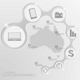 Australien-Karte und Elemente Infographic Vektor Stockfotografie