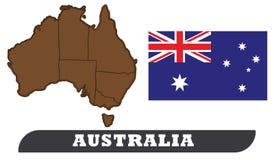 Australien-Karte und Markierungsfahne vektor abbildung