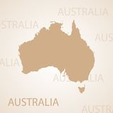 Australien-Kartenbraun Lizenzfreie Stockbilder