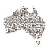 Australien-Kartenzusammenfassungsdiagramm von den schwarzen und null binar stock abbildung