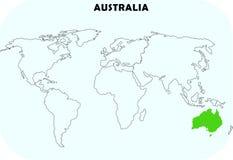 Australien kontinent i världskarta stock illustrationer