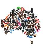 Australien kontinent som göras av skor vektor illustrationer