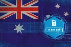 Australien lösenordskydd Datorsäkerhetsbegrepp Royaltyfria Bilder