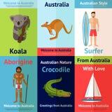 Australien Mini Poster Set Arkivbilder