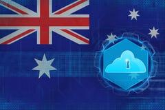 Australien molnlagring Molnsäkerhetsbegrepp Arkivbild