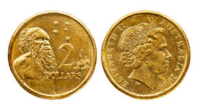 Australien myntdollar två Arkivbilder