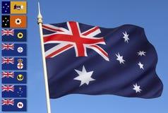 Australien - nationella och provinsiella flaggor Royaltyfri Bild