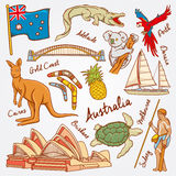 Australien-Natur- und -kulturikonen kritzeln gesetzte Vektorillustration Stockfoto