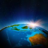 Australien och Oceanien från utrymme vektor illustrationer