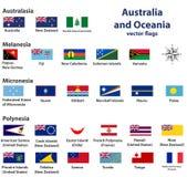 Australien och Oceanien inkluderar flaggor för Australasien, Mikronesien, Melanesia och Polynesien vektorländer Arkivfoto