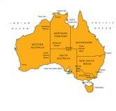 Australien-orange Karten-vektorabbildung Lizenzfreie Stockfotos