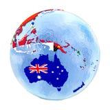 Australien på det politiska jordklotet med flaggor som isoleras på vit Fotografering för Bildbyråer