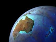 Australien på jord från utrymme stock illustrationer