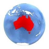 Australien på jordklotet som isoleras på vit Royaltyfri Foto