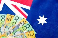 Australien - pengar och flagga Arkivfoton