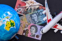 Australien-Reise und -geld lizenzfreie stockbilder
