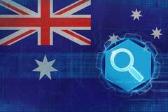 Australien rengöringsduksökande Webbläsaren med sökande knäppas, och PIXELet räcker på en vitbakgrund Arkivfoton