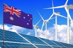 Australien Solar und Windenergie, Konzept der erneuerbaren Energie mit den Windmühlen - erneuerbare Energie gegen die globale Erw stock abbildung