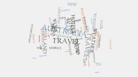 Australien städer reser hotell och animering för typografi för text för turismordmoln Royaltyfri Bild