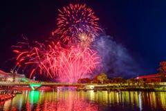 Australien-Tagesfeuerwerke in Adelaide Stockfotografie