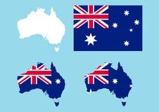 Australien-umreiß und Markierungsfahne Lizenzfreies Stockbild