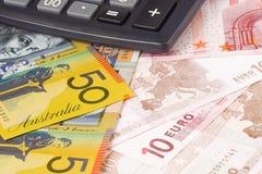 Australien und Eurobargeld stockbild