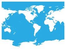 Australien und Pazifischer Ozean zentrierte Weltkarte Weißes Schattenbild des hohen Details auf blauem Hintergrund Auch im corel  Lizenzfreie Stockfotos