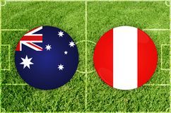 Australien vs den Peru fotbollsmatchen royaltyfri illustrationer