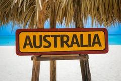 Australien-Zeichen mit Strandhintergrund Stockbild